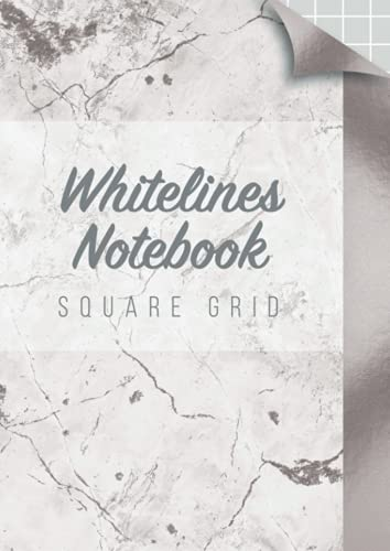 Whitelines notebook square grid: grey background white square pages for drawing writing engineer and journaling with marble cover
