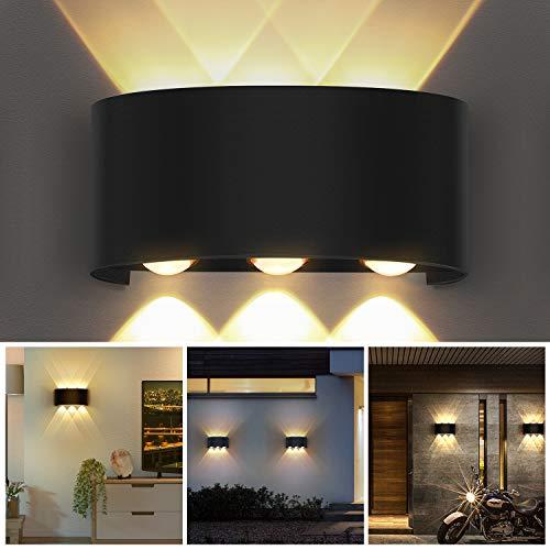 OUSFOT Wandlampe Wandleuchte Innen Cree Led 6W Modern Up Down Wasserdicht IP54 Wandleuchte 3000K Warmweiß Schwarz