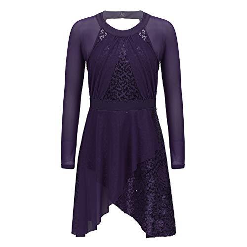 YOOJIA Vestido de Tul de Lentejuelas Brillantes para Nias Vestido de Leotardo con Calzoncillos de Color Liso Disfraz de Actuacin de Danza Morado 5-6 aos