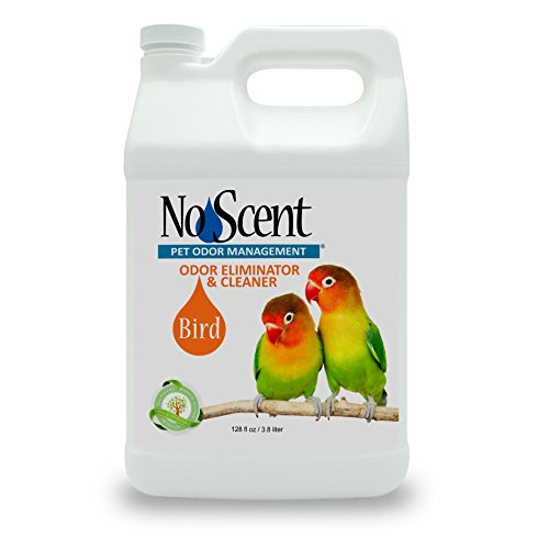 No Scent Bird - Professional Pet Poop Cleaner & Odor Eliminator - Safe All Natural Probiotic & Enzyme Formula Smell Remover for Cages Aviary Perches Nests Toys and Bedding (1 gal)