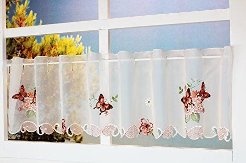Kamaca Serie Lovely Butterflies bestickte Schmetterlinge und Blumen halbtransparent Küchengardine Panneaux EIN Schmuckstück in jeder Küche (Bistrogardine 30x150 cm)