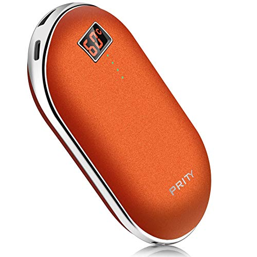 Hand Warmers Rechargeable, PRITY 10000mAh Electronic Hand Warmer/Powerbank With Digital Display, 3 Adjustable Heat Levels, Double-Sided Long-Lasting&Quick Heating Portable Warmer, Winter Gifts, Orange