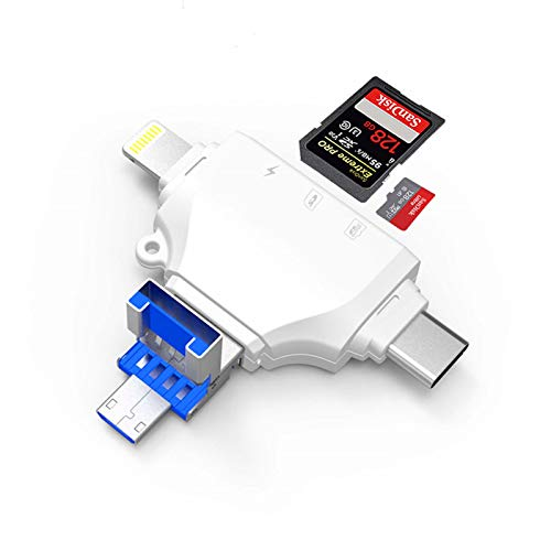 JAOK 4-in-1 Micro SD Card Reader, Supports Lightning/USB C (Type C)/USB/Micro USB, Can Be Used for iPhone Ipad Mac Pc Android Multi-Function Card Reader (USB 3.0)