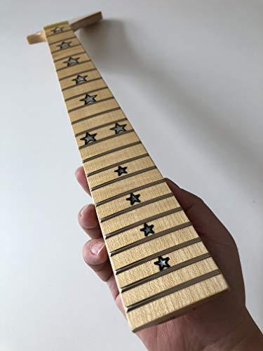 Mástil de guitarra eléctrica de 22 trastes de 25.5 pulgadas de arce con incrustaciones de estrella de plátano brillante.