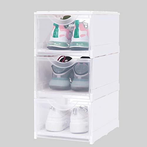 3er Set Schuhbox Schuhschrank, Stapelbarer Schuhorganizer, Kunststoffbox Aufbewahrungs Organisator mit Durchsichtiger Tür, Mehrweg Schuhaufbewahrung, für Schuhe bis Größe 48, 26x36.5x19cm