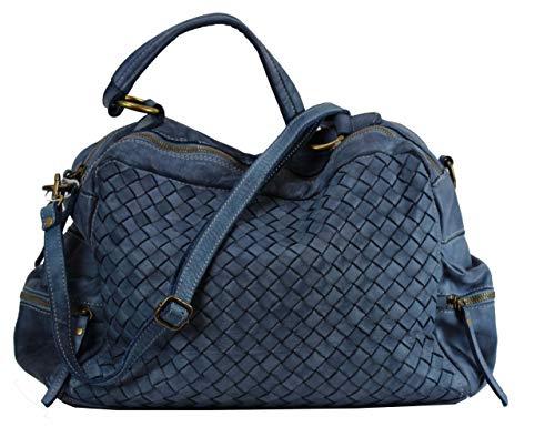 BZNA Bag Marie Blau blue sheep Italy Designer Damen Ledertasche Handtasche Schultertasche Tasche Schafsleder Shopper Neu