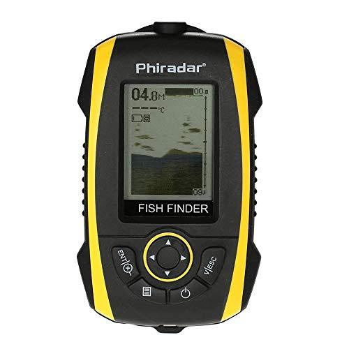 QCHEA Finder, Finder portátil Pescado LCD Mostrar Sonar Sensor Transductor Fishfinder Fish Fish Alarma Profundidad Indicador Finder Finder Outdoor Electrónico Herramienta de Pesca Equipo