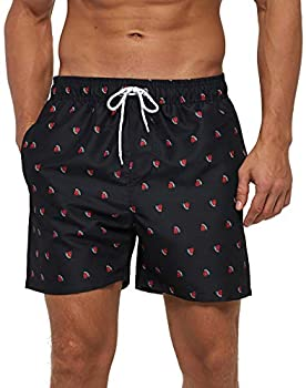 SILKWORLD Men s Board Shorts Swim Trunks Quick Dry Athletic Swimwear with Pockets,Black Watermelon,Medium