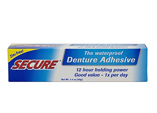 Secure Waterproof Denture Adhesive - Zinc Free - Extra Strong Hold For Upper, Lower or Partials - 1.4 oz (Pack of 4)