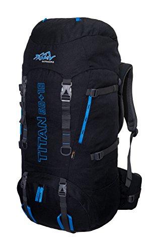Tashev Mochila de Trekking Titan 60 + 10 L (Negro & Azul)