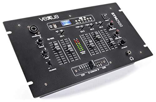 Vexus STM2500 5-Kanal-Mischpult Bluetooth-DJ-Mixer (USB-Slot, MP3-Sktion, XLR, EQ, Phono, Mikrofon-Sektion) schwarz