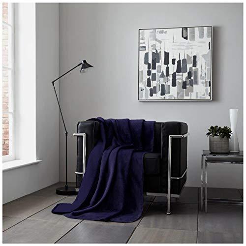 Gaveno Cavailia Flanell-Sherpa-Fleece-Decke, weich, flauschig, kuschelig, warm und gemütlich, für Sofa, Bett, Sofa, Plüsch, Kunstdecke, Polyester, Marineblau, 150 x 200 cm