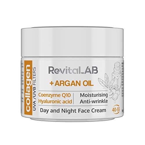 RevitaLAB - Crema hidratante antiarrugas de día y de noche con colágeno enriquecida con ácido hialurónico, Q10, aceite de argán y un filtro UVA/UVB, franja de edad 40-55, 50 ml