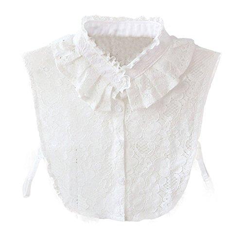 Hanmorla Hanmorlla Frauen Kragen Abnehmbare Hälfte Shirt Bluse Damen Blusenkragen Chiffon Peterpan Kragen, Einheitsgröße, Weiß