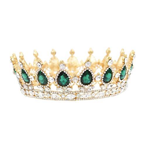 Lurrose Diamante de Imitación Barroco Tiara Corona Novia Tiara Cristal Corona de...