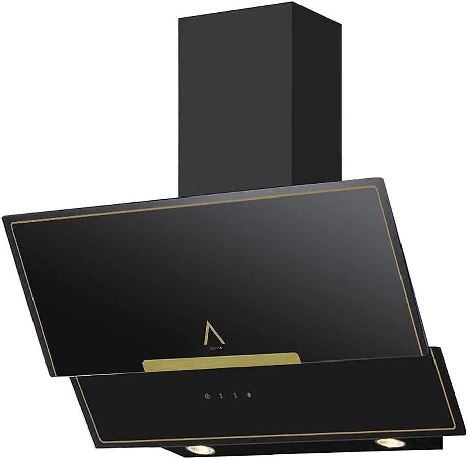 ALPHA Campana Decorativa Rústica Dorada GEA GOLD-90. Cristal Negro, 550 m3, Luz Led **Alta Gama**