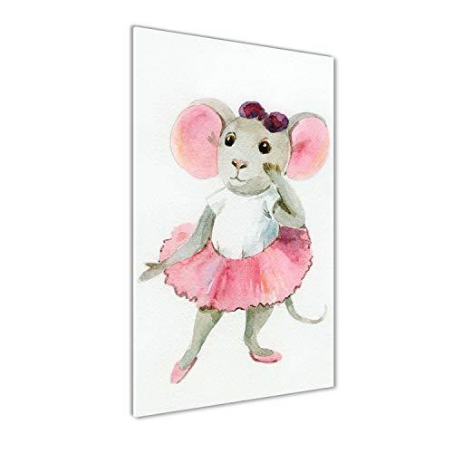 Tulup Acrylglas - Wandkunst - Bild auf Plexiglas Deko Wandbild hinter Kunststoff/Acrylglas Bild - Dekorative Wand für Küche & Wohnzimmer 50x100cm - Kinderzimmer - Maus Ballerina - Rosa