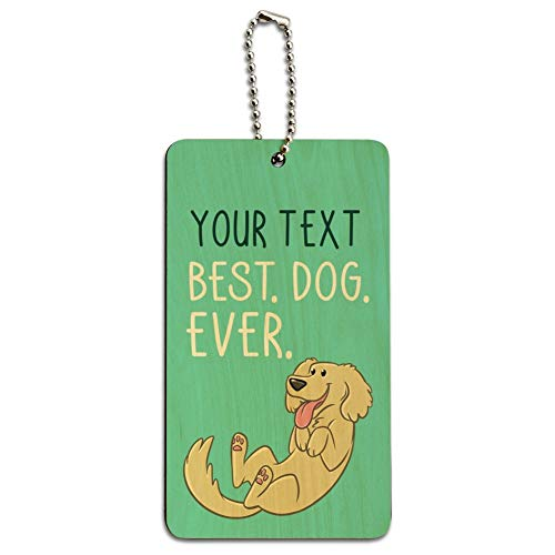 Personalized Custom 1 Line Best Dog Ever Wood Luggage Card Carry-On ID Tag