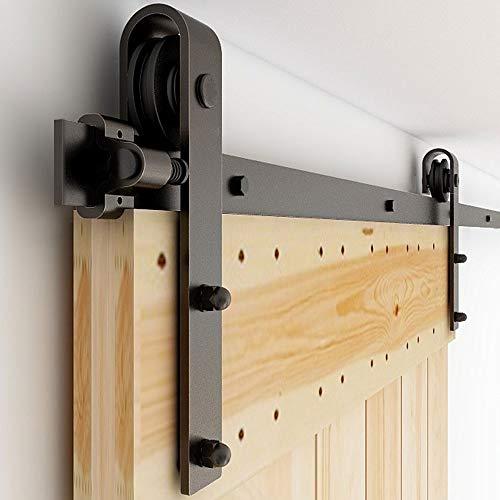 6.6FT/201CM WOLFBIRD Binario per Porta Scorrevole Kit accessori per porte scorrevoli kit hardware per porta scorrevole da fienile dispositivo sistema porta regolabile porta singola porta in legno