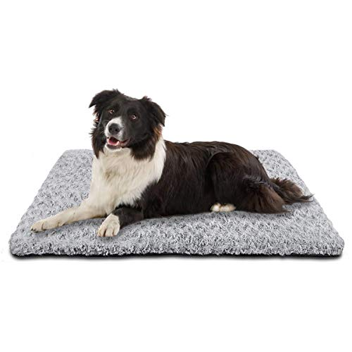 SIWA MARY Dog Bed Crate Pad Mat 30/36/42 in Anti Slip Washable Mattress Pets Kennel Pad for Large Medium Small Dogs Sleeping (30-inch,Grey) Beds