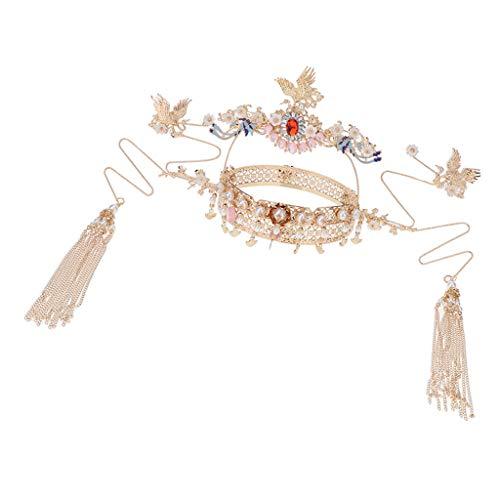 KESOTO Traditioneller Schmuckset mit Haarkrone und Ohrringe, passt an Chinesischen Brautkleidung