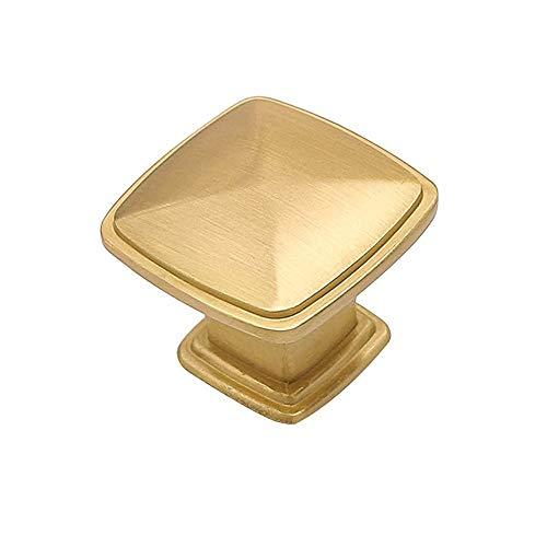 goldenwarm Brushed Brass Cabinet Knobs 10Pack - LS8791GD Solid Square Drawer Knobs Kitchen Gold Cabinet Knobs Gold Knobs for Dresser Hardware 1.2inch Width