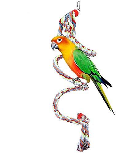 HEEPDD Vogel Touw Perch, 63 Inch Papegaai Swing Klimmen Spiraal Staande Speelgoed Ontwikkelen Vogel's Coördinatie en Balans voor Grote en Medium Kleine Papegaaien