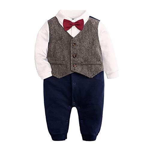 Julhold Neugeborenes Baby Jungen Mode Einfache Langarm Gentleman Fliege Body Dünner Overall Strampler 0-24 Monate