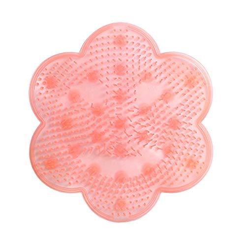 Tabanlly bloem vorm siliconen voet wassen bad rug massage kussen zool verwijderen dode huid wassen borstel badkamer zuignap mat roze