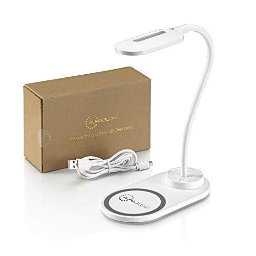Auraglow Flexible LED-Schreibtischlampe mit 3 Farbmodi und 10 W schnurlosem Smartphone Qi-Schnellladegerät