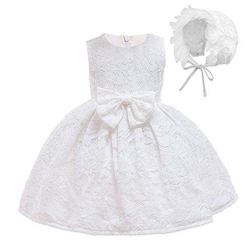 FONLAM Vestido de Bautizo para Bebé Niña Vestido Princesa Fiesta Cumpleaños Ceremonia Encaje Bebé (Blanco, 3-6 Meses)