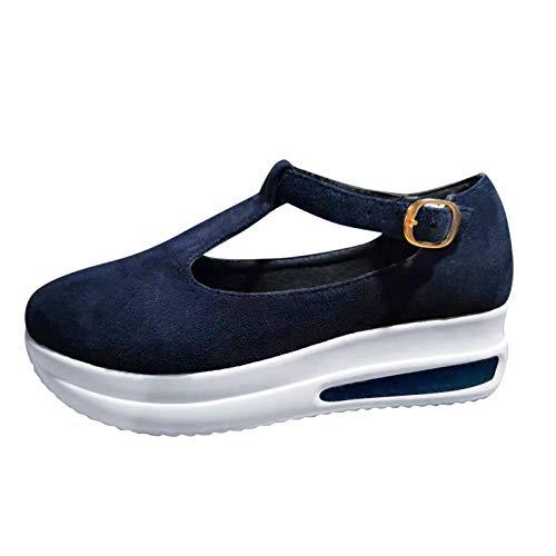 Damen Slippers Wedge Sneaker T-Strap Reiseschuhe Lässig Wander Schuhe Sneaker Freizeit Halbschuh Turnschuhe Bequem Sportschuhe Slip On Jogging Fitness Schuhe Shoes (Blue, 38)