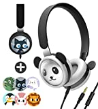 Panda Kids Headphones with Microphone, DIY Patterns Volume Limited Wired On Ear Headset with Stainless Steel Adjustable Headband and Food-Grade Silicone Skin for Children Boys Girls School