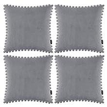 Juego de 4 fundas de almohada decorativas con pompones suaves de terciopelo, fundas de cojín cuadradas con bolas para sofá, hogar, dormitorio, coche, color gris claro, 45 x 45 cm