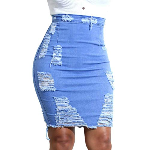 iYYVV Womens High Waist Ripped Denim Distressed Bodycon Pencil Mini Jean Hip Skirt