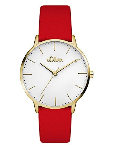 s.Oliver Damen Analog Quarz Armbanduhr mit Leder Armband SO-3442-LQ