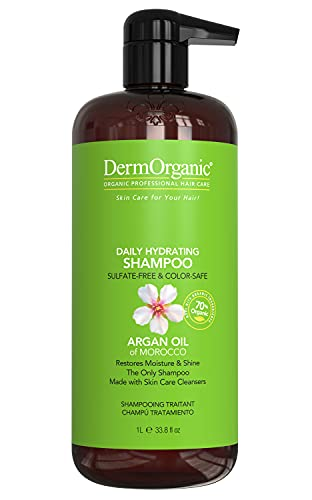 DermOrganic Daily Hydrating Shampoo with Argan Oil - Sulfate-Free &...