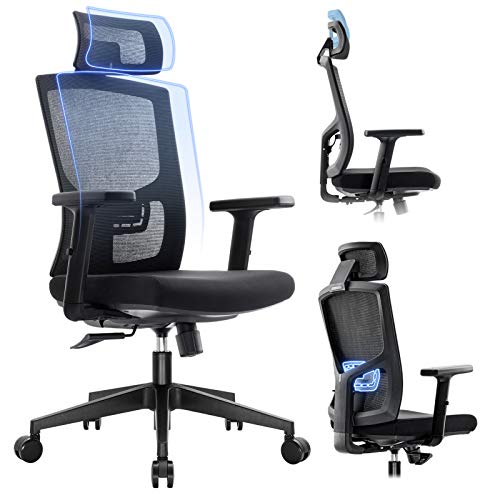 Komene Ergonomic Mesh Office Chair - High Back Desk Chair with Adjustable Lumbar Support &Thick Seat Cushion-Adjustable Head & Arm Rests-Seat Height-Computer Desk Chair, Task Executive Chair
