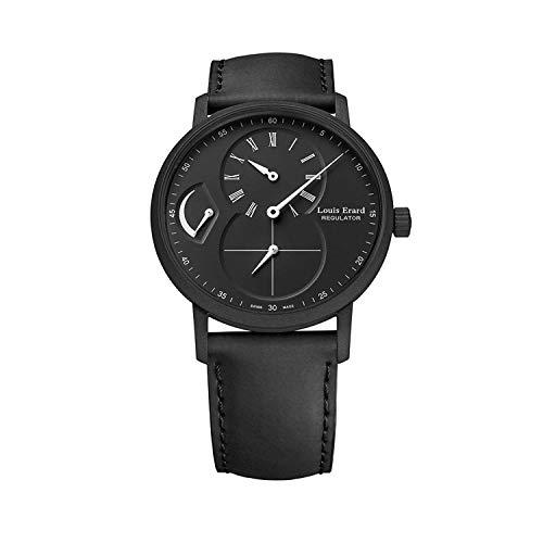 Louis Erard 54230NN32.BVA22 Herren-Automatik-Regulator-Armbanduhr, schwarzes PVD-Lederband