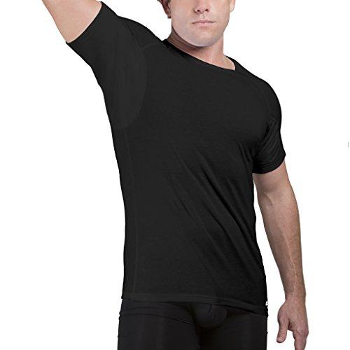 Ejis Men's Sweat Proof Undershirt, Crew Neck, Anti-Odor, Cotton, Sweat Pads (XX-Large, Black)