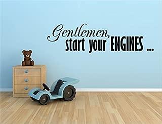 GENTLEMAN START YOUR ENGINES RACING RACE CARS VINYL WALL DECAL STICKER BOYS KIDS ROOM HOME DECOR