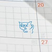 ネコのまぐろのカオ、至福の喜び。浸透印。:青色インク
