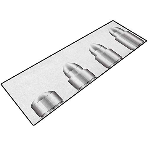 Silver Room Doormat Set of Bullets from Small to Big Military Ammunition Weapon Shotgun Firearm Defense 24x48 Inch Carpet Rubber Anti-Slip Floor Mat