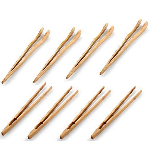 Pinzas de Bambú, 8 Piezas Pinzas de Madera de Cocina, Pinzas de Juego de Té, Pinzas de Cocina de Bambú, Pinzas de Bambú para Tostadora, para Cocinar pan Tostado, Servir Comida, Té y Voltear Carne