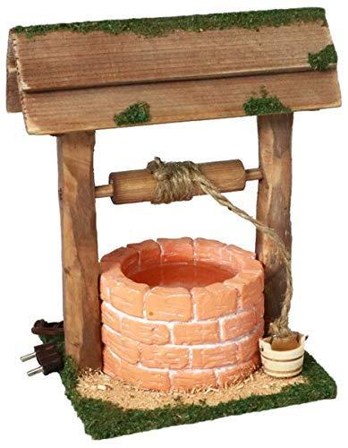 WeWi Krippenbeleuchtung - Terracotta Brunnen beleuchtet mit Wasserimitat - 14 cm hoch