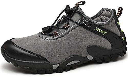 KUXUAN Calzado de Ciclismo para Hombre,Zapatos de Bicicleta de Montaña Sin Bloqueo,Calzado de Bicicleta de Carretera para Hombres y Mujeres,Suelas-PVC,Grey-44EU