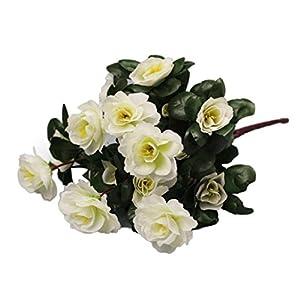 Silk Flower Arrangements Artificial Flowers,Vibola Simulation of Azalea Safflower Bouquet Home Wedding Decoration (White)