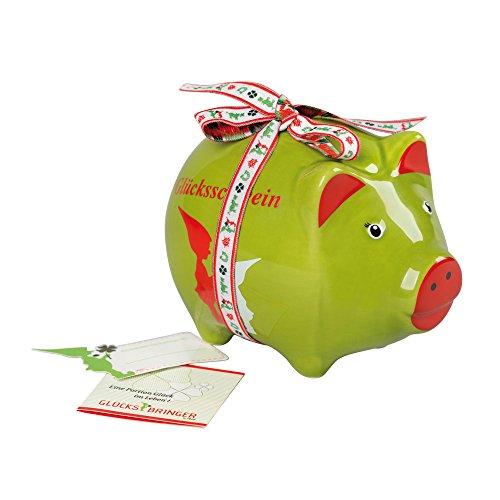 ebos Glücksbringer-Sparschwein aus Keramik | Spardose, Sparbüchse | Glück Aufdruck, grün
