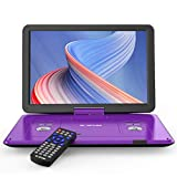 17.5' Portable DVD Player with 15.6' Large HD Screen, 6 Hours Rechargeable Battery, Support USB/SD Card/Sync TV and Multiple Disc Formats, High Volume Speaker, Purple