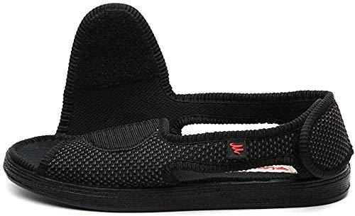 B/H Calzado OrtopéDico Ajustable para Artritis,Zapatos de Tela con Velcro Ajustable, Zapatos deformados con Pulgares-Negro B_39,Zapatos para DiabéTicos para Edema